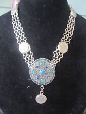 Green & Blue Cabachon Maltese Cross Coin Statement Necklace-Vintage Repurposed