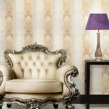 Wall Paper vintage Damask textured Stripes Wallpaper beige peach gold striped 3D