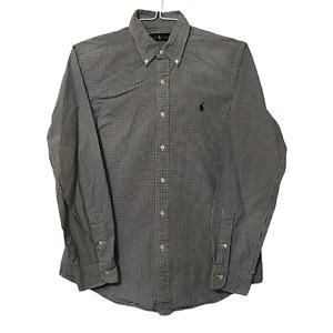 Ralph Lauren Dress Shirt Mens Size Medium M Button Down Black Check Long Sleeve