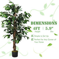 4 Feet Artificial Ficus Silk Tree Wood Trunks Green Indoor Outdoor Décor