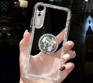 Bling Diamond Effect Gold or Silver Edge Clr Phone Case With HLDR For iPhones.