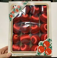Vintage Satin Wrapped Red Ornaments 20 In Box
