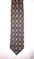 Ermenegildo Zegna Mens Necktie Tie Black Brown Geometric 100% Silk Italy