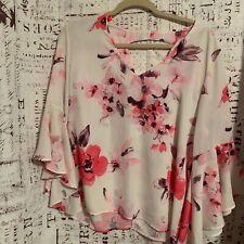 NWT Sweet Pea Women's Bell Sleeve Floral key-hole neck Blouse SZ L
