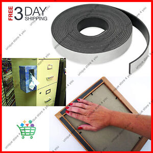 Magnetic Strip Tape 15Ft Flexible Roll ADHESIVE Backed Magnet Strong Sticky Back