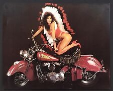 Woman on Red INDIAN Motorcycle Vintage Sexy BIKINI Poster / Print 16 x 20