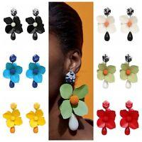 Fashion Big Flower Pendant Dangle Drop Tassel Ear Stud Earring Boho Jewelry Gift