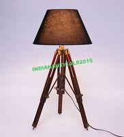 Antique Brass Vintage Marine Nautical Table Lamp Maritime Tripod Lamp Shade
