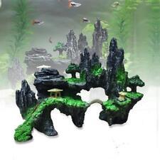 Aquarium Ornament Mountain View Rockery Cave Fish Tank Decoration Landscape B#