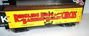 K-LINE LIONEL RINGLING BROS BARNUM BAILEY CIRCUS DINING DEPT. REEFER.  5-PIC.