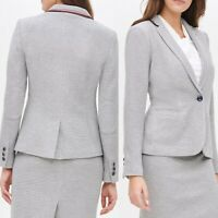 New Tommy Hilfiger Gray Blazer Workwear Stripe Detail One Button Womens Size 6