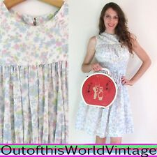 Vtg 50s Pink Blue White FLORAL DAY DRESS 100% Cotton Sweet Country Doll PINUP S