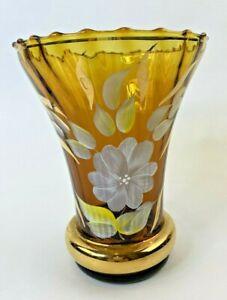 "Vintage Vase Amber Hand Blown/Painted FlowersFloral Design Gold Trim 7 3/4"""