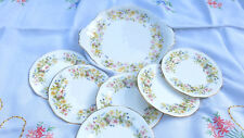 VINTAGE COLCLOUGH 'HEDGEROW' 1 X CAKE & 6 SIDE PLATES SET - CAKE/SANDWICH/TEA
