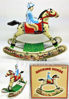 MS482 Rocking Horse with Jockey Retro Clockwork Wind Up Tin Toy w/Box