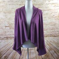 LOGO Lounge Lori Goldstein Purple Waterfall Cardigan Size Small w/ Pockets