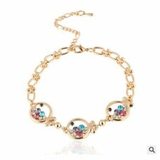 Cubic Fashion Stylish Multicolor Hot Crystal Fish Plated Gold Bracelet