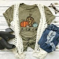 Womens Pumpkin Letter Printed Tops Halloween Graphic Blouse 3 Color Fall Autumn