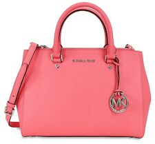 Michael Kors Sutton Medium Coral Saffiano Leather Satchel Shoulder Crossbody Bag