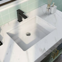 DeerValley White Porcelain Rectangle Undermount Bathroom Sink With Overflaw