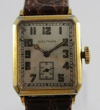 VTG Waltham Hand Wind Men's Wrist Watch 14K Solid Gold Rectangular Case lot.d6