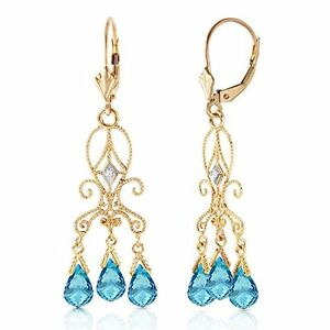 4.80 CTW 14k Solid Gold Natural Diamond and Blue Topaz Chandelier Drop Earrings