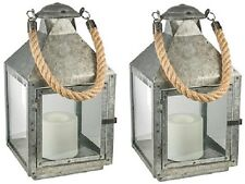 2 Ea Northern Gl28672lgv Galvanized Metal Battery Operated Patio Candle Lantern
