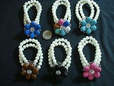 stock 6 bracciali perle pietre sintetiche colorate fiore elastici bigiotteria