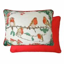 EVANS LICHFIELD CHRISTMAS ROBINS FILLED CHENILLE COTTON RED CUSHION 40 X 30CM