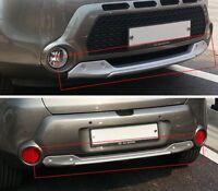 Front Rear Bumper Guard DIFFUSER Skid Plate Silver 2p For 14-17 Kia All New Soul