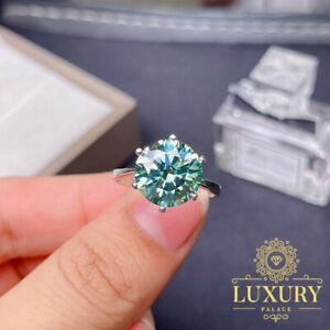 5Ct Round Cut Green Moissanite Solitary Wedding Ring 14K White Gold Finish