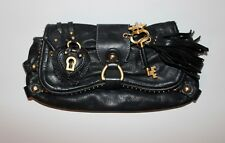 Juicy Couture Black Leather Hearts & Key Clutch