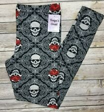 Skull Rose Print Leggings Day of the Dead Floral Black ONE SIZE OS 2-10