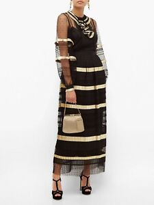 TEMPERLEY LONDON Phantom Pleated Swiss-dot Maxi Dress RRP £899.00