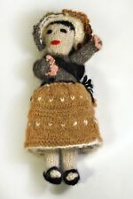 Unique Artist Art Ooak Hand Made Knit Ethnic Doll Solid Material Through Out!