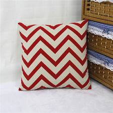 1x Vintage Linen Cotton Cushion Case Sofa Throw Pillow Cover Red Zigzag 42x42cm