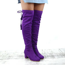 Womens Over The Knee High Stretch Leg Ladies Block Heel Lace up Long BOOTS UK 3 / EU 36 / US 5 Purple Faux Suede