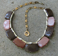 Vintage Signed LISNER Thermoset Necklace Brown And Moonglow Brown Gold Tone