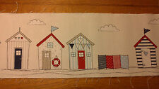 4 Blue Red Beach Houses With Windbreak  38cm x 15cm Material For Patchwork