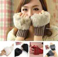 Girl Fingerless Fur Winter Warm Wrist Knitted Wool Mitten Gloves