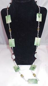 **PADDY'S MEADOW** Green Acrylic Brown Crystals Amazonite Silver Necklace