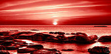 """LONG LARGE CANVAS BOX ART RED ROCKY SEASCAPE 42 """"x 20"""""""