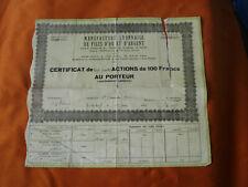 certificat 24 action 100fr manufacture lyonnaise de filés d'or et d'argent  1950