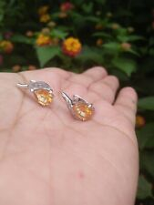 Natural 6x8 Golden Yellow Pear CITRINE & CZ Sterling 925 Silver EARRINGS