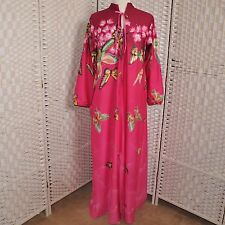 Vtg Calif Concepts Ombre Hot Pink Butterfly Robe Loungewear Sz L Floral Burgandy