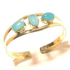 Chalcedony Bangel Cuff Bracelet Tibetan Silver Brass Gemstone Handmade Jewelry
