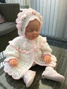 New Hand Crochet Baby Girl Cardigan/Matinee Coat And Hat Set 0/3 Months