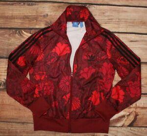 Adidas Ladies Full Zip Red Floral Sweatshirt Jumper Jacket UK 14 M / Medium