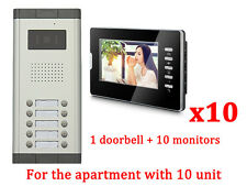 Apartment 10 Units Wired Video Door Phone Audio Visual Entry Intercom System