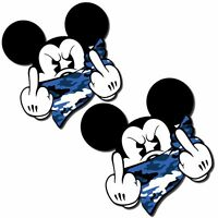 2 VINYL STICKERS MICKEY MOUSE GONE BAD MIDDLE FINGER AUTO MOTO CAR TUNING B 33